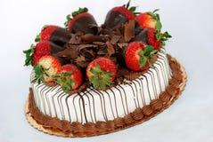 Vanilla cake with strawberries Stock Image