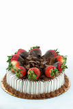 Vanilla cake with strawberries Stock Image