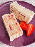 Vanilla cake with strawberry Stock Photography