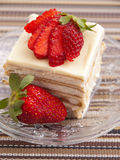 Vanilla cake with strawberry Royalty Free Stock Photo