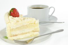 Vanilla cake with strawberry on top Stock Images