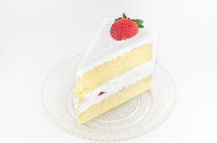 Vanilla cake with strawberry topping isolated Royalty Free Stock Photo