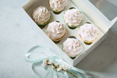 Dessert cupcakes in a gift box. place for inscription royalty free stock photos