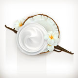 Vanilla care cream. Health and care cream vanilla coconut, vector icon,  on white background Stock Photos