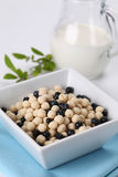 Vanilla cereals with blueberries Stock Image