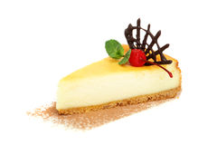 Vanilla Cheesecake with Berries and Chocolate Stock Photography