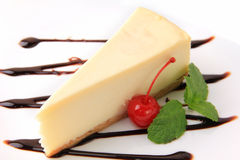 Vanilla cheesecake and cherry Stock Photos
