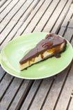 Vanilla cheesecake with cocolate Stock Photo