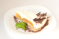 Vanilla cheesecake with peach and chocolate chips Royalty Free Stock Photography