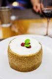 Vanilla cheesecake with raspberries Royalty Free Stock Image