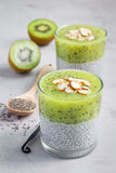 Vanilla chia pudding with kiwi, layered dessert, concrete background. Vertical Royalty Free Stock Photo