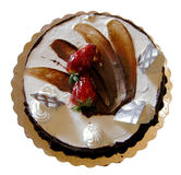 Vanilla- chocolate birthday cake, Isolated Stock Photo