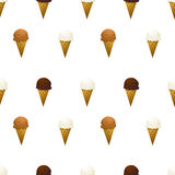Vanilla, chocolate and caramel ice cream cone Royalty Free Stock Photography