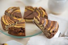 Vanilla and Chocolate Cheesecake Stock Photo