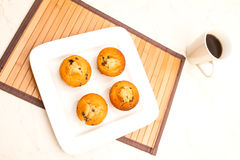 Vanilla with chocolate chips Muffins with a cup of coffee Royalty Free Stock Photography