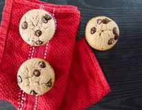 Vanilla and chocolate chips muffins stock images