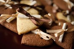 Vanilla and chocolate cookies Royalty Free Stock Images