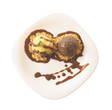 Vanilla and chocolate ice cream stock photos