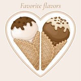 Vanilla and chocolate ice cream with chocolate topping and cream in a waffle cone. Stock Photos