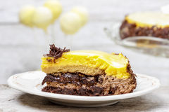 Vanilla and chocolate layer cake, Royalty Free Stock Photography