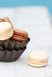 Vanilla and Chocolate Macarons Royalty Free Stock Images