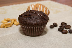 Vanilla and chocolate muffins in a basket Royalty Free Stock Photos