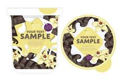 Vanilla chocolate Yogurt Packaging Design Template Royalty Free Stock Photography