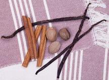 Vanilla, cinnamon, nutmeg Stock Image