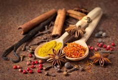 Vanilla, cinnamon and other spices on a rusty table. Shallow dof royalty free stock images