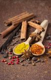 Vanilla, cinnamon and other spices on a rusty table.  royalty free stock photo