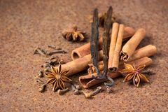 Vanilla, cinnamon and other spices on a rusty table.  stock photography