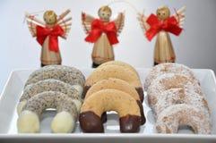 Vanilla Cookies. German Vanilla, Chocolate and Cinnamon Christmas Cookies Stock Photo