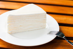 Vanilla crape cake Stock Photos
