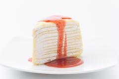 Vanilla crape cake with strawberry jam Stock Photo
