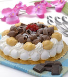 Vanilla cream cake Stock Photos