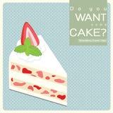 Vanilla Cream Cake. With strawberry royalty free illustration