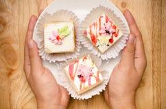 Vanilla cream cake Stock Photo