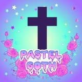 Vanilla cross. Glamour Halloween background in neon pastel color Stock Photo
