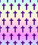 Vanilla cross.Spooky seamless pattern. Halloween wrapping paper. Background in neon pastel colors. Cute gothic style. Colorful rainbow clouds Royalty Free Stock Images