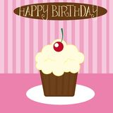 Vanilla cupcake. Over pink background. vector illustration Royalty Free Stock Photography