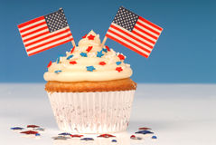 Vanilla cupcake with 4th of July theme Royalty Free Stock Photo