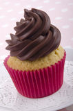 Vanilla cupcake with chocolate butter cream Stock Images