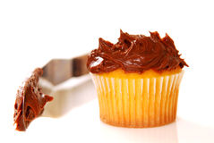 Vanilla cupcake with chocolate frosting Stock Photo