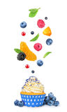 Vanilla cupcake falls in the air the berries Royalty Free Stock Photos
