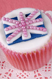 Vanilla cupcake with the flag of united kingdom Stock Image