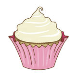 Vanilla Cupcake and Icing Pink Wrapper Stock Image