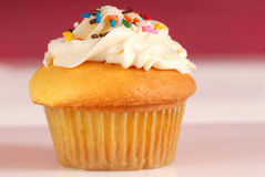 Vanilla cupcake with a lemon buttercream frosting Royalty Free Stock Photo