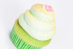 Vanilla cupcake with lime icing Stock Photo