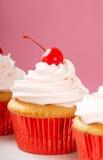 Vanilla cupcake with maraschino frosting Stock Image