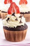 Vanilla cupcake with organic strawberry Stock Photo